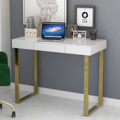 Modern White Desk With Gold Legs - Roxy