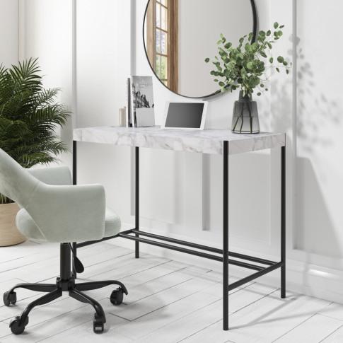 White Faux Marble Desk - Roxy