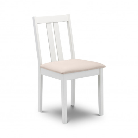 Julian Bowen White Wooden Dining Chair With Faux Sue...