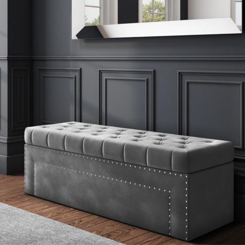 Safina Velvet Storage Blanket Box In Grey With Stud ...