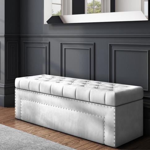 Safina Velvet Storage Blanket Box In Silver Grey With Stud Detail