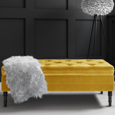Safina Ottoman Storage Bench In Yellow Velvet With B...