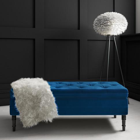 Safina Ottoman Storage Bench In Navy Blue Velvet Wit...