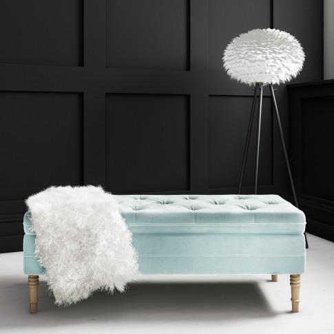 Safina Ottoman Storage Bench In Duck Egg Blue Velvet...