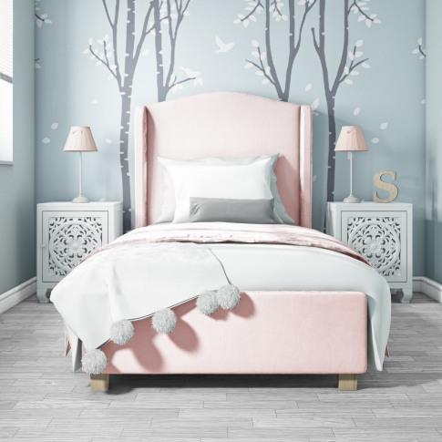 Safina Single Wing Back Bed In Baby Pink Velvet