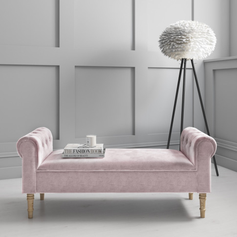 Safina Pink Velvet Bench With Quilted Arm Rest