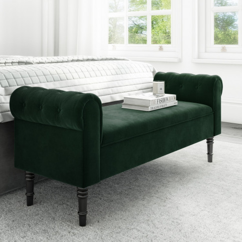 Safina Green Velvet Bench With Quilted Arm Rest