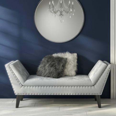 Safina Velvet Bench Seat With Stud Detailing In Ligh...