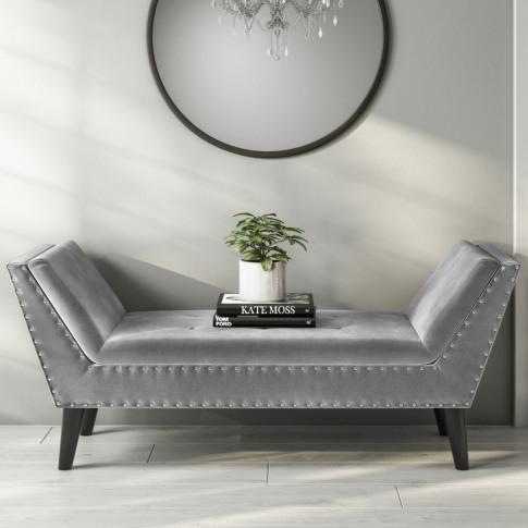 Safina Velvet Bench Seat With Stud Detailing In Dark Grey