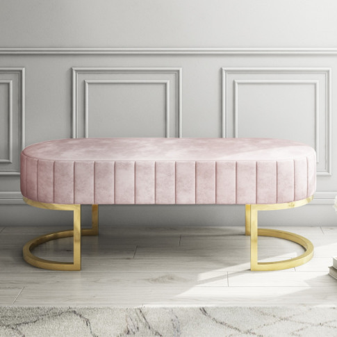 Safina Velvet Bench In Baby Pink With Gold Legs
