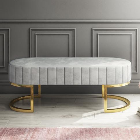 Safina Velvet Bench In Silver Grey With Gold Legs