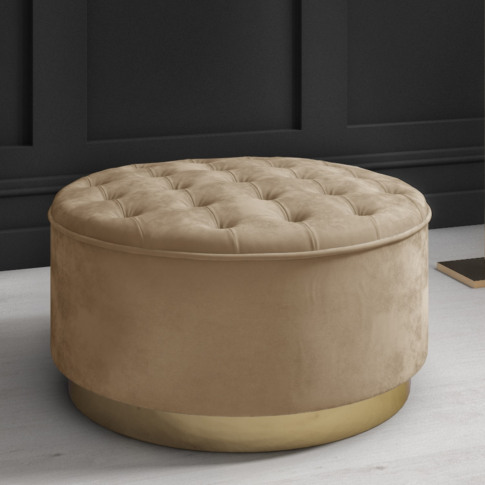 Safina Large Round Velvet Pouffe In Beige With Butto...