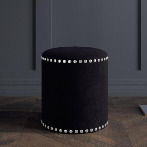 Safina Small Round Studded Stool In Black Velvet