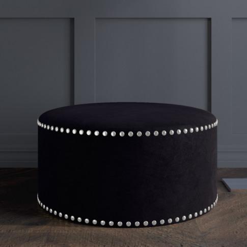 Safina Large Round Studded Pouffe In Black Velvet