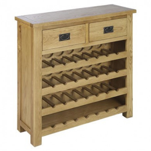 Solid Oak Wine Rack Sideboard with Drawers - Rustic ...