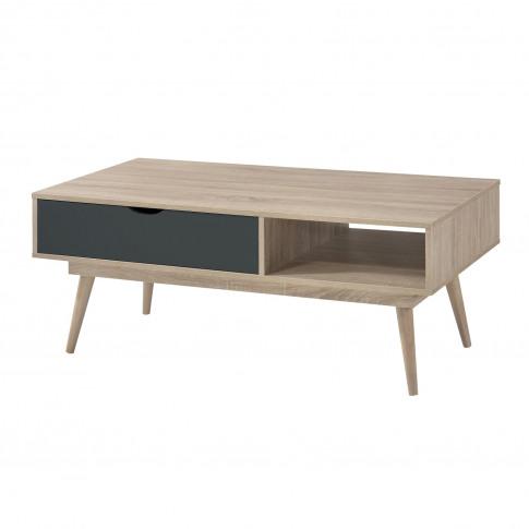 Lpd Scandi Oak Coffee Table With Grey Drawer