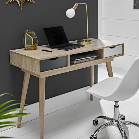 Lpd Scandi Oak Effect Office Desk With Storage Drawers