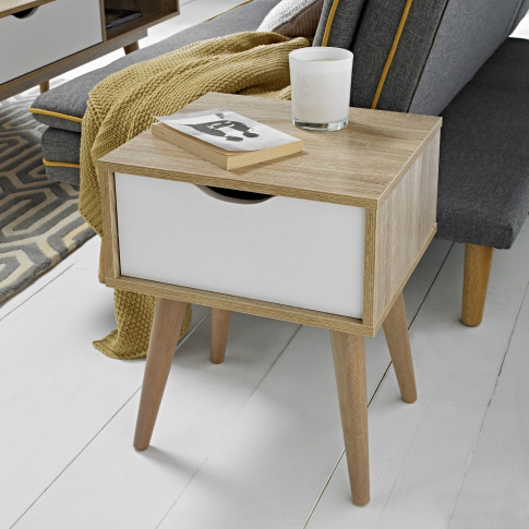 Lpd Scandi Oak And White Side Table