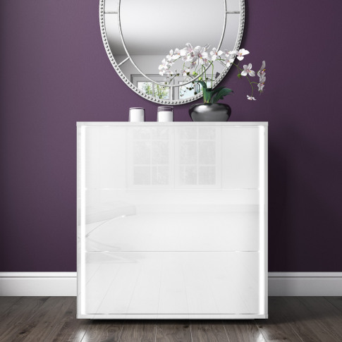 Selena White High Gloss Chest Of Drawers With Led Light