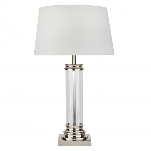 Silver Table Lamp With Glass Base & Cream Shade - Pe...