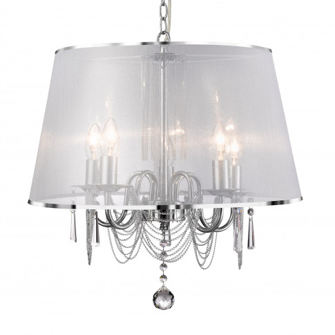 5 Light Chandelier With White Shade And Crystal Effe...