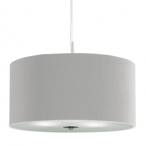 3 Light Silver Pendant Light With Chrome Pleat Shade...