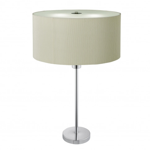 Table Lamp With Cream Fabric Shade & Chrome Shade - ...