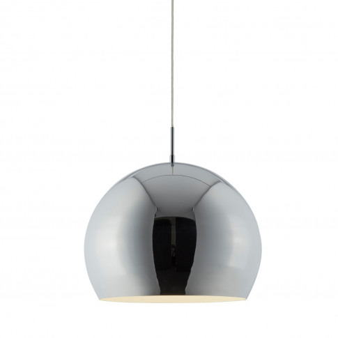 Chrome Pendant Light With Round Shade - Industrial