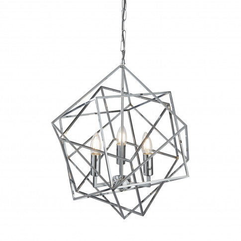 Geometric Globe Chandelier With 3 Candles In Chrome By Searchlight
