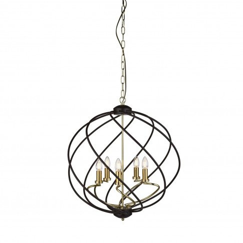 Large Chandelier Light In Black & Gold With 5 Candle...