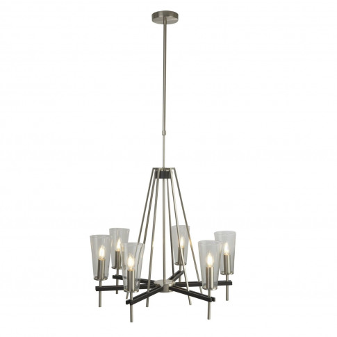 Chrome Candle Effect Chandelier With 6 Glass Shades By Searchlight