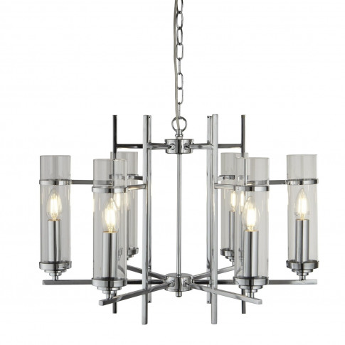 Chandelier In Chrome & Glass With 6 Cylinder Shades ...