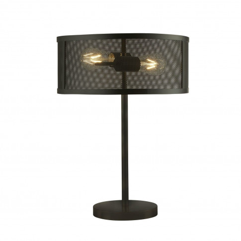 Table Lamp In Black With Mesh Shade - Fishnet