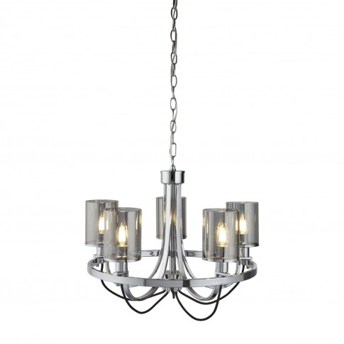 5 Light Chandelier In Chrome & Glass - Catalina