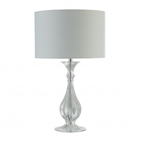 Silver Table Lamp With Crystal Effect Base And White...