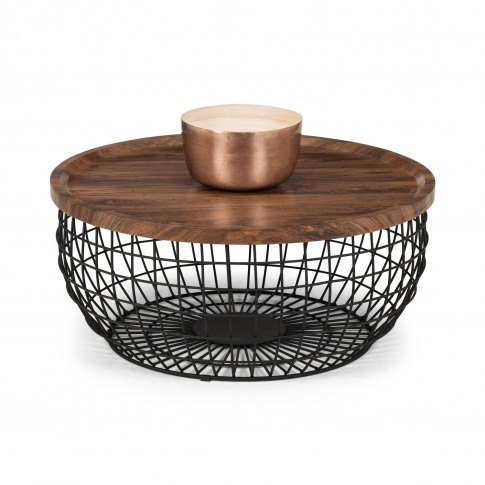 Smithson Basket Coffee Table With Wooden Top & Black...