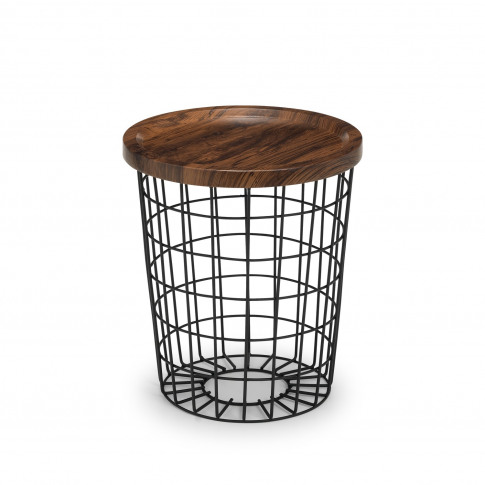 Smithson Basket Side Table With Wooden Top & Black M...