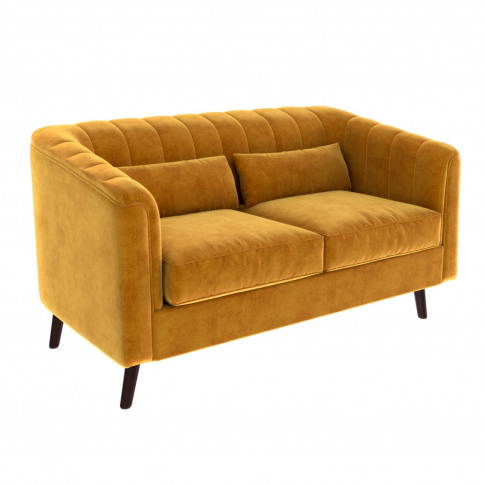Lotti Mustard Yellow Velvet 2 Seater Sofa With Remov...