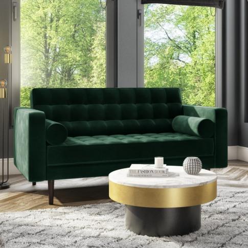 Elba Green Velvet Sofa With Button Detailing & Bolst...