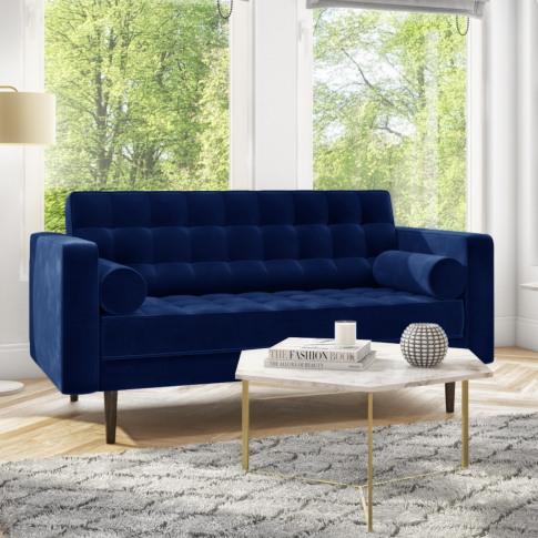 Elba Blue Velvet Sofa With Button Detailing & Bolste...