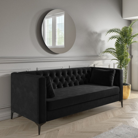 Dark Grey Velvet Sofa With Buttons - Seats 3 - Luthor