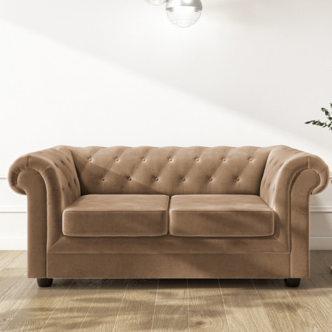 2 Seater Chesterfield Sofa In Beige Velvet - Bronte