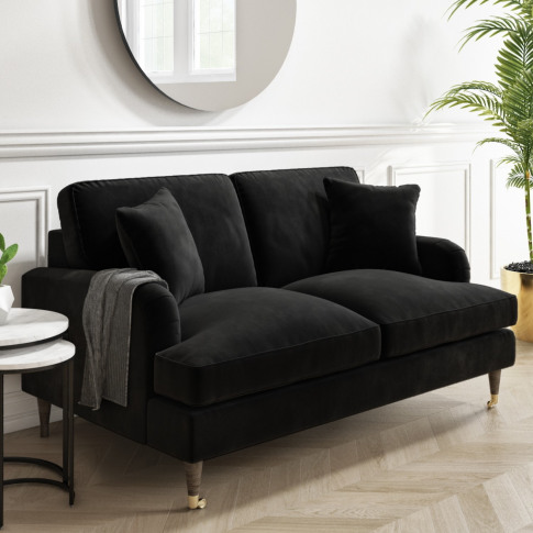 Payton Black Velvet 2 Seater Sofa