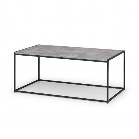 Staten Rectangular Coffee Table In Faux Concrete & B...