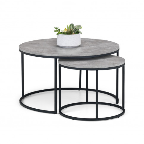Staten Round Nest Of 2 Coffee Tables In Faux Concret...