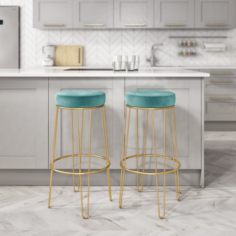 Pair Of Teal Blue Velvet Bar Stools With Gold Metal ...