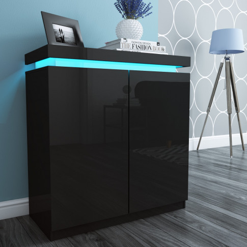 Black Gloss Shoe Cabinet With Led -  24 Pairs