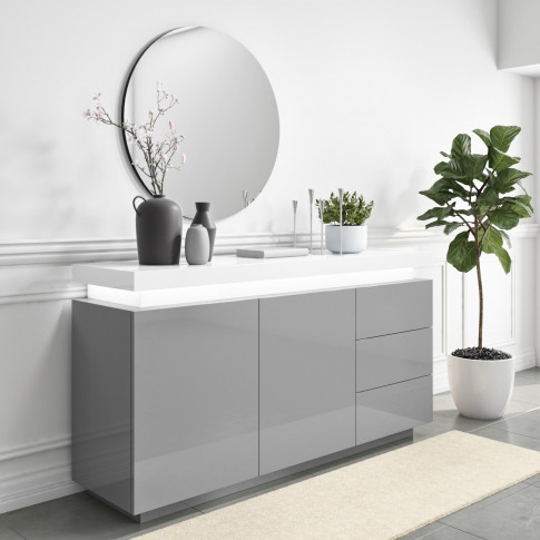 Grey & White Gloss Sideboard With Led Lights - Large...