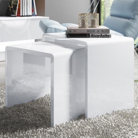 Set Of 2 White Gloss Nesting Tables - Tiffany