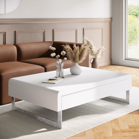 White Gloss Curved Coffee Table With Drawer - Tiffany